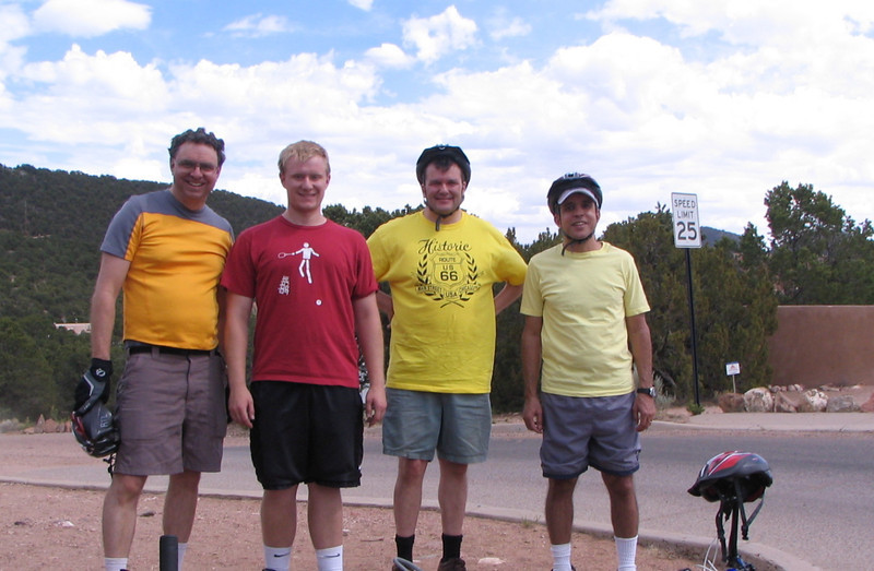 Bill, David, Phil, and Nestor near the maximum elevation of the ride through the back roads of Santa Fe.