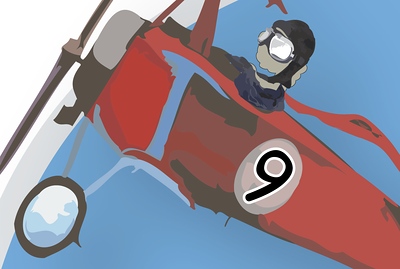 Here you can see a really good detail of my brush work on the plane.  Number 9 flying the plane is a stone cold killa.
