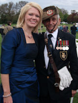 VE Day +65th at Thornton Hough. Pictured with WWII veteran George Main