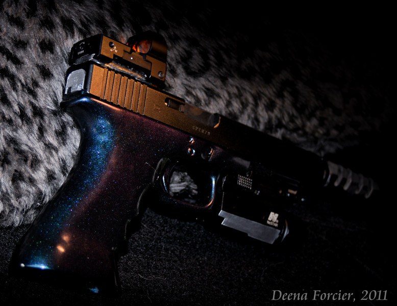 Another image of the Glock, shown from a different angle to really capture the two-tone paint.