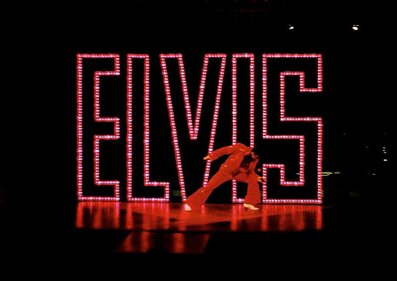 """Idols of the King. Foothills Theater, Worcester, MA 2009<br /> Set design and dressing:  Lisa Pegnato<br /> The Elvis sign was 9' tall and 14'9"""" wide & traveled on from stage left with lights chasing"""