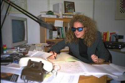 Lisa at Shep's desk. ca 1988 (Note the Tizo lamp.)