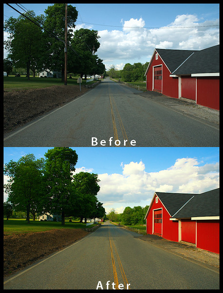 <h2>Example of Multiple Techniques & Enhancements:</h2>  * Remove Items (Telephone Poles & Wires, Street Sign, Buildings)  * Clean Street cracks, spots & dirt  * Enhance & Brighten Colors of Clouds, Sky, Tree & Barn  * Sharpen Photo Detail  (Click on Photo to Enlarge)