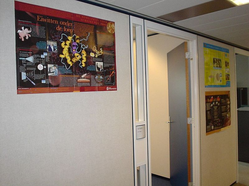 The hallway outside my office, now a little decorated with 3 Nobel Prize in Chemistry posters.