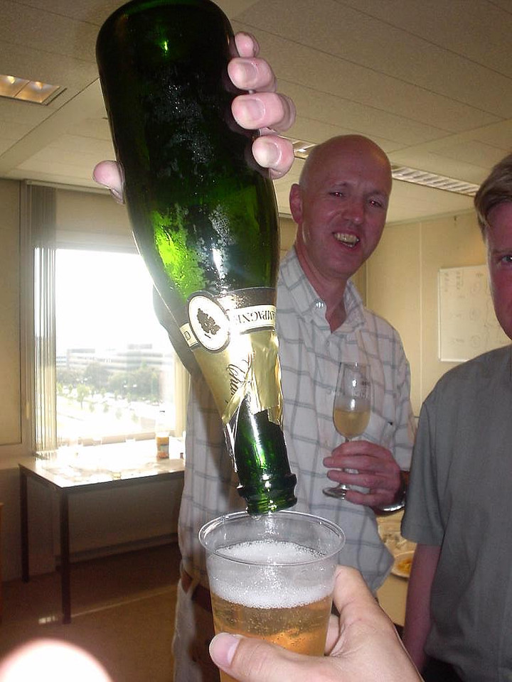 I asked my coach if it was OK to have some more champagne... he said yes, if I finished it, so Paul did... pfff