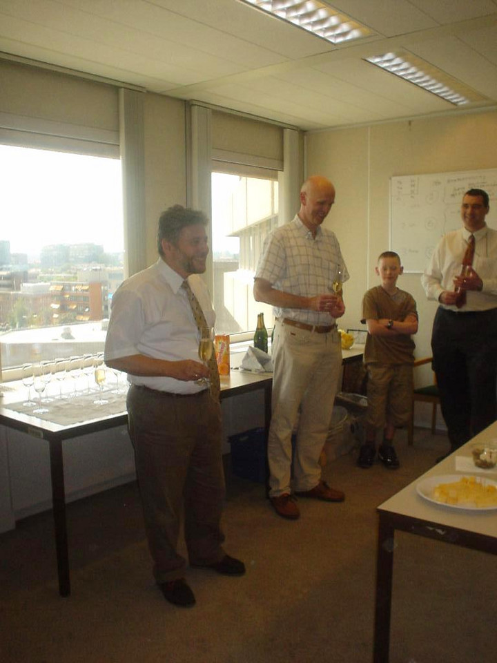 My boss, Yannis, giving a speech to congratulate Paul with his promotion and his endurance