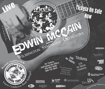 Chords for a Cause, Edwin McCain Concert. This was a magazine ad created for the benefit concert by Edwin McCain and the Wilmington Symphony Orchestra at the Kenan Auditorium.  I was responsible for creating all promotional artwork for concert and marketing.
