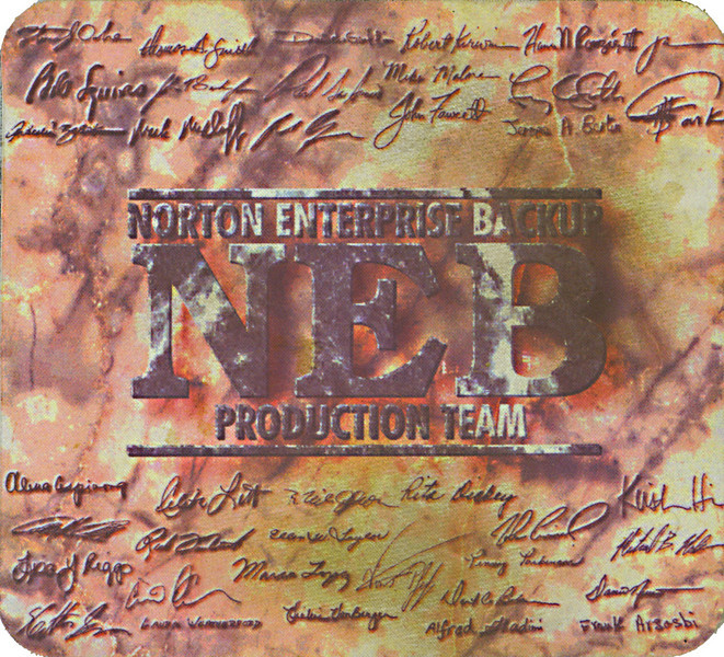 Development team signatures commerorative mousepad for the release of Symantec Norton Enterprise Backup v1.0.<br /> I'm in the third-to-last row, second from the left.