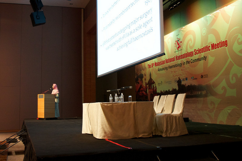 Dr Jameela Sathar delivering the lunch symposium talk. Her topic was the use of recombinant activated factor VII.