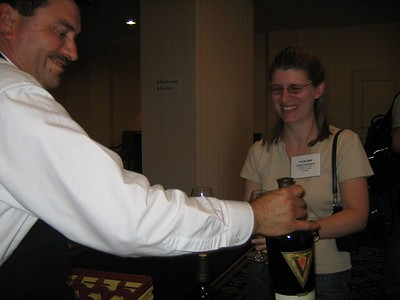 The first glass of wine being served at FCCM 2005.