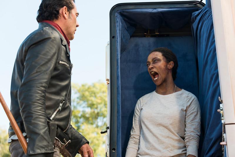 Sonequa Martin-Green as Sasha Williams, Jeffrey Dean Morgan as Negan- The Walking Dead _ Season 7, Episode 16 - Photo Credit: Gene Page/AMC