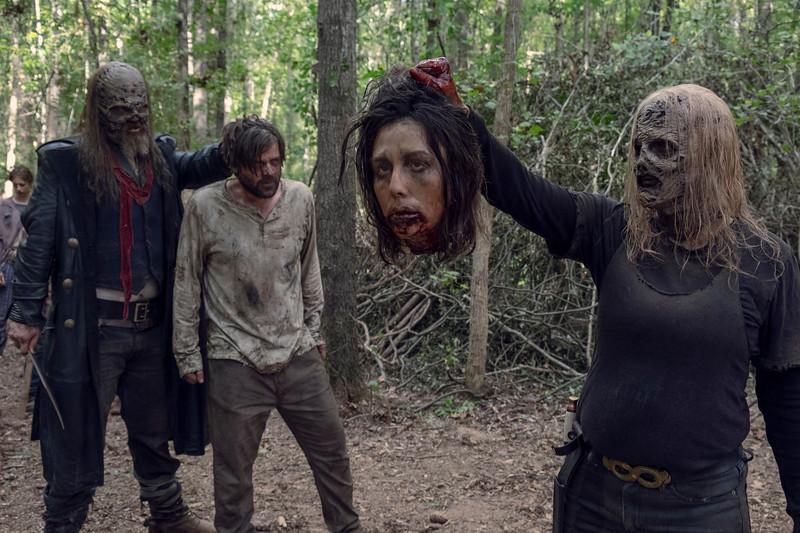 Ryan Hurst as Beta, Benjamin Keepers as Sean, Samantha Morton as Alpha- The Walking Dead _ Season 9, Episode 12 - Photo Credit: Gene Page/AMC