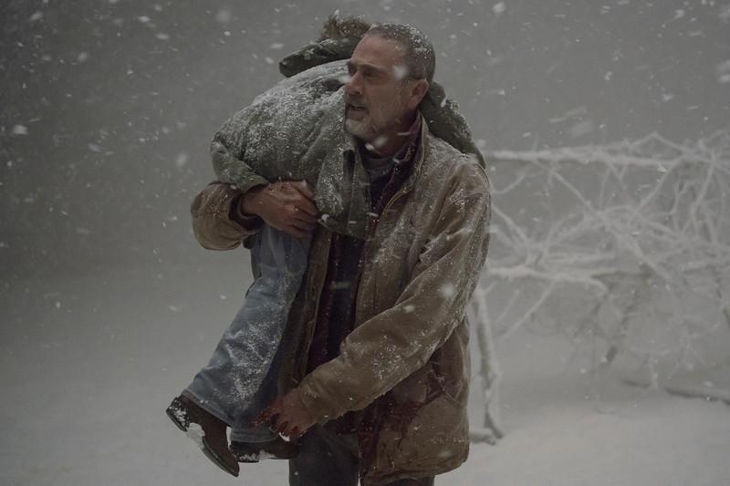 Cailey Fleming as Judith Grimes, Jeffrey Dean Morgan as Negan- The Walking Dead _ Season 9, Episode 16 - Photo Credit: Gene Page/AMC