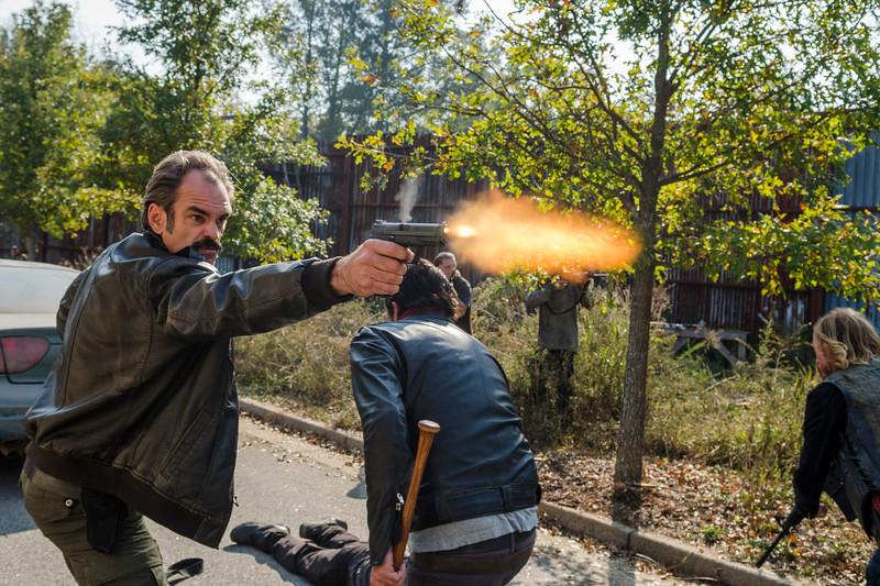 Steven Ogg as Simon, Jeffrey Dean Morgan as Negan, Austin Amelio as Dwight- The Walking Dead _ Season 7, Episode 16 - Photo Credit: Gene Page/AMC