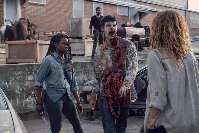 Danai Gurira as Michonne, Nadia Hilker as Magna, Avi Nash as Siddiq- The Walking Dead _ Season 9, Episode 7 - Photo Credit: Gene Page/AMC