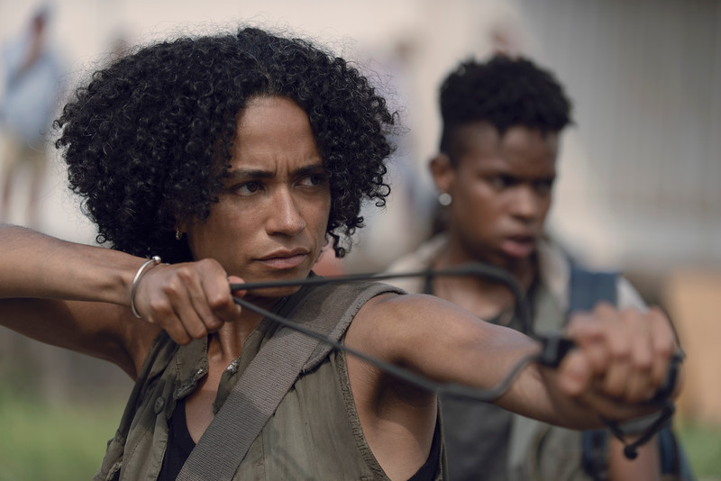 Lauren Ridloff as Connie, Angel Theory as Kelly- The Walking Dead _ Season 9, Episode 7 - Photo Credit: Gene Page/AMC