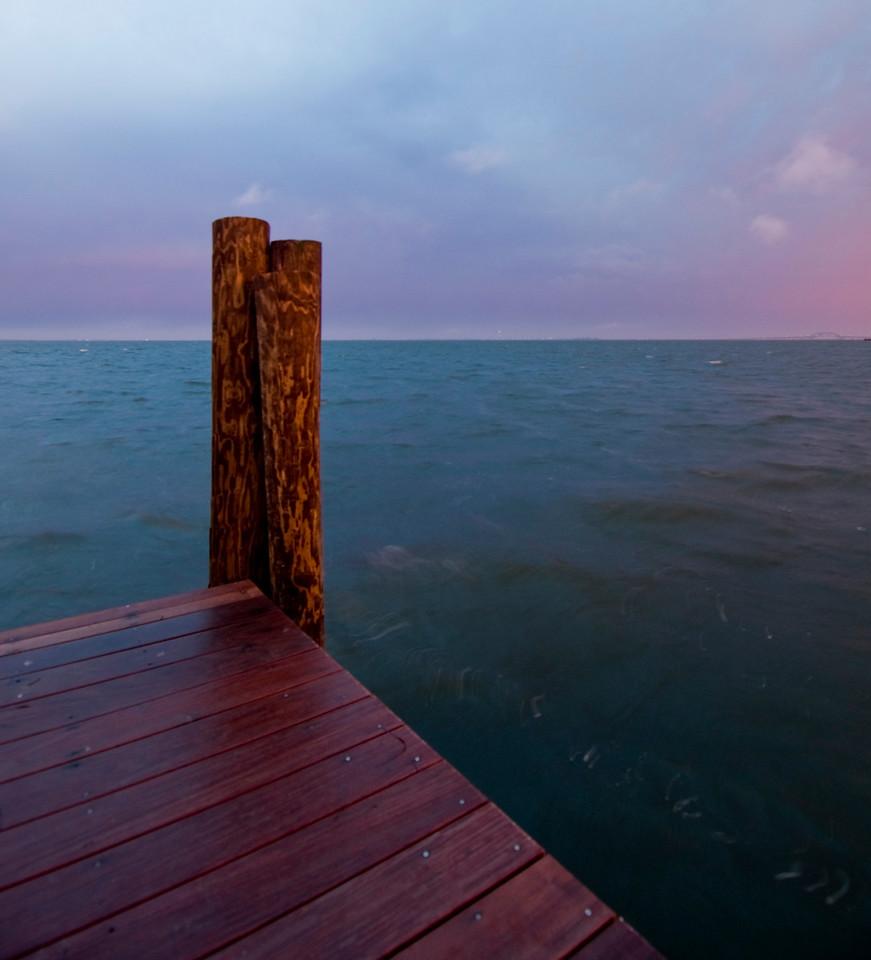Pier at Bay Shore Marina, sunset