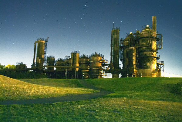 Gasworks at night, Seattle
