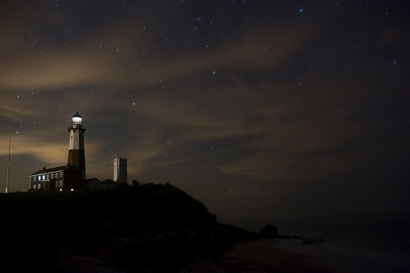 High clouds from Hurricane Irene start to overspread Montauk Lighthouse, Aug 26 2011.