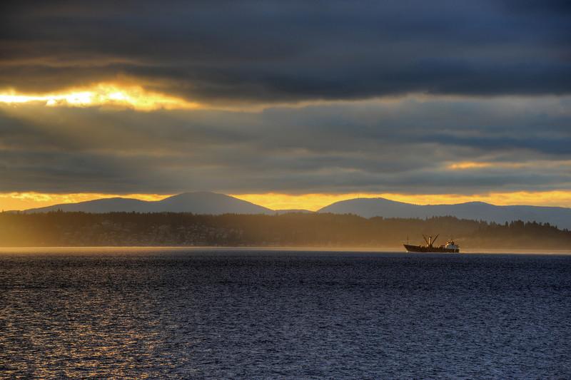 Sunset over Bainbridge Island, from Alki Beach