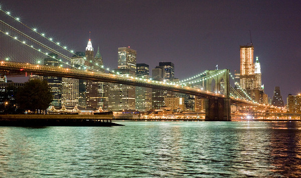 Brooklyn Bridge at midnight.