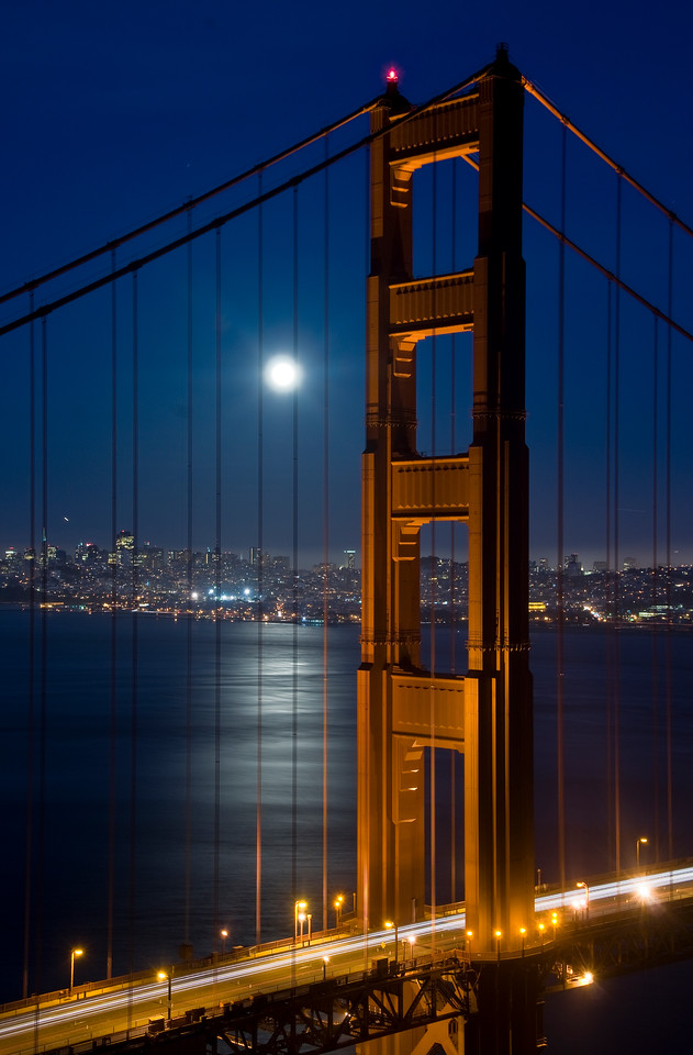 Moon Rising over Golden Gate Bridge, San Francisco