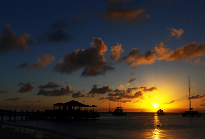 Aruba sunset over Piet's bar