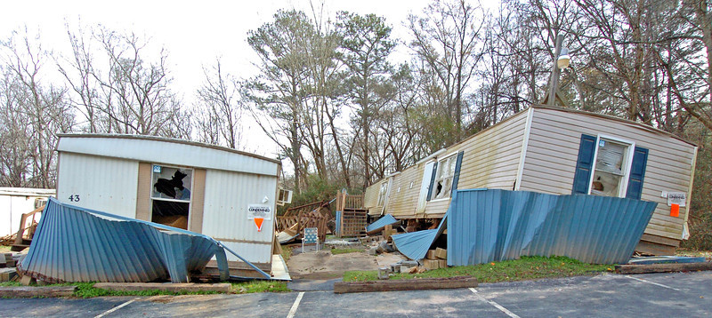 This entire mobile home park was condemed after 83 trailers were washed off their foundations and held there by steel tornado tie downs as flood waters reached nearly 2 feet above the roofs.
