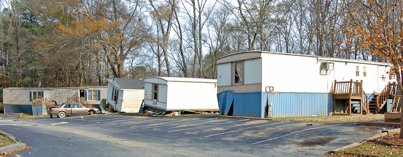 Rows of condemed mobile homes left destroyed by floodwaters.