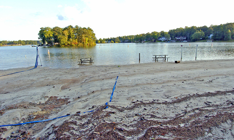 Fairfield Plantation's beach area around the Lake thats underwater due to the flood that devastated Paulding, Douglas, Cobb and some portions of Villa-Rica.<br /> PHOTO BY JOE LIVINGSTON/STAFF