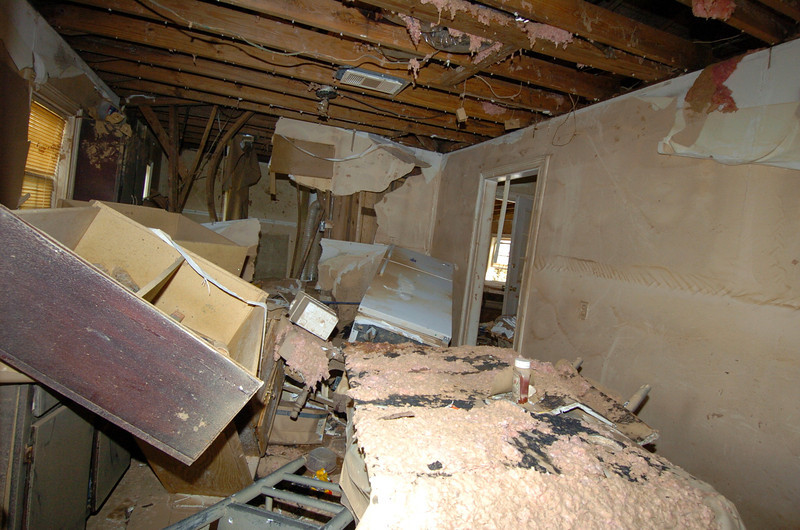 Furnishings left a mess and ruined inside a condemed homw along Sweetwater Creek. The water level was nearly 2 feet over the top of the house.