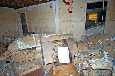 Great room area destroyed by flood waters.