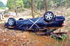 This vehicle was trapped under the violent floodwaters claiming 3 lives. May they rest in peace..
