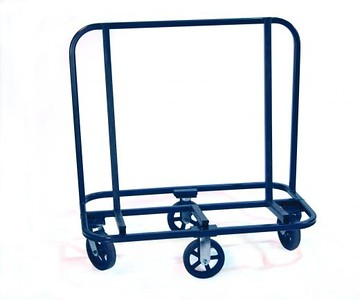 Rubber Shop Cart<br /> Part Number 52207OG<br /> Extruded pieces of rubber line the two vertical and three base pieces offering the greatest protection to finished material.  Center 8 inch x 2 inch (20.32 cm by 5.08 cm) wheels are rigid with end wheels that swivel offers great maneuverability. It can spin 360 degrees in place and negotiate tight corners. Unit is ideal for use in the shop or at jobsite.