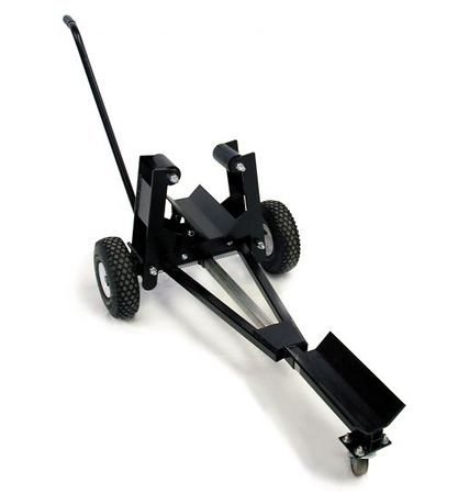 Pinch dolly with telescoping caster. Grabs countertop with spring-loaded arms equipped with rubber rollers. Extend to proper length, drop countertop into place and go.