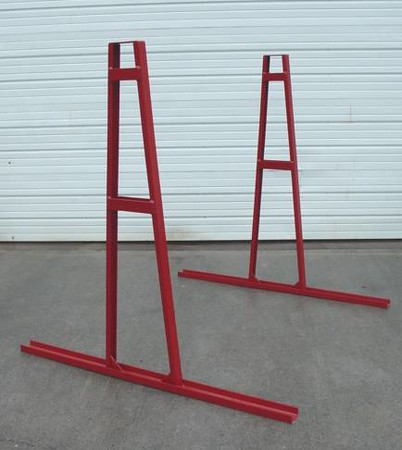 A-Frame Model 5400<br /> Part Number 52173<br /> <br /> Durable unit made out of strong C3 and C2 channel.  Each side of the base has 22 inches of surface to place material on.  Verticals measure 59 inches.  Unit is designed to hold 20,000 lbs per side, with a maximum variance of side to side at 5,400 lbs.  Maximum recommended slab height measures 84 inches.