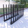 Slab Storage Rack <br /> Part Number  52521<br /> This storage rack is designed for full sized bundles of slabs.  Heavy duty material used on the bases (6 inch / 15.24 cm channel) as well as the receivers and uprights.  Each complete unit comes with two painted bases (each 120 inches / 304.80 cm in length), with 20 uprights made from C3 channel.  Uprights measure 54 inches/137 cm above the base when installed.
