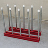 Mini Remnant Rack <br /> Part Number  52512<br /> This storage rack is designed for tight areas or even jobsite use.  Each complete unit comes with two painted bases (each 36 inches / 91.44 cm in length), with 10 galvanized poles (each 28 inches / 71.12 cm in length) with protective plastic caps on the end.