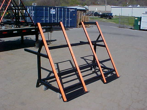 "6' Rollover Cart<br /> Part Number 52068<br /> The angled top of this cart is perfect for safely moving slabs from one workd station to another.  The top measures 71-3/4"" x 57-3/4"".  Heavy duty casters negotiate even the toughest of floors.  The cantilever design allows the table to be used as a work surface and transport cart."