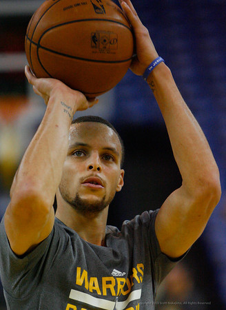 Stephen Curry during the shoot around period before the Warriors vs. Rockets game on February 12, 2013