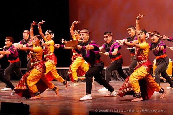 San Jose Taiko 40th Anniversary Concert / October 5, 2013: The Abhinaya Dance Company and the San Jose Taiko performing together on 'Path of Gratitude: A Tribute to Ei Ja Nai Ka '