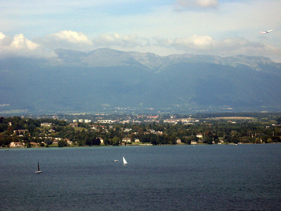From left to right--Geneva and the Rhone River--panorama #7