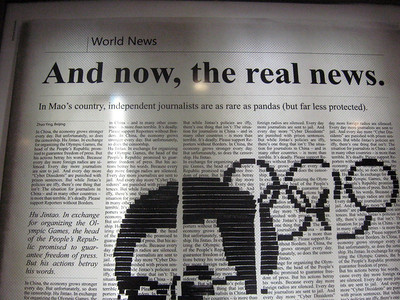 ... speaking of which--a little something about journalism in China and the Olympics