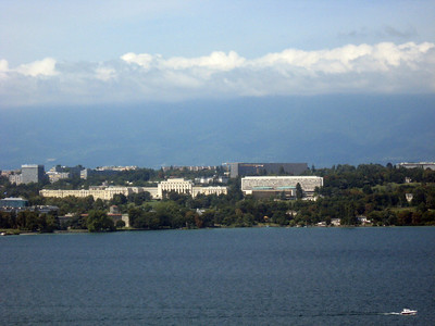 From left to right--Geneva and the Rhone River--panorama #4
