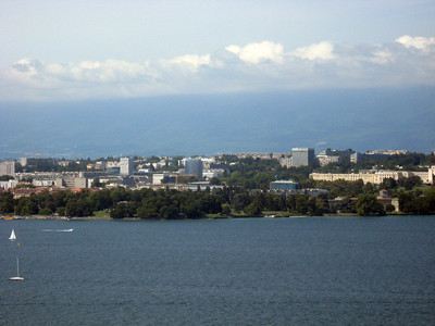 From left to right--Geneva and the Rhone River--panorama #3