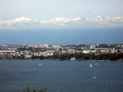 From left to right--Geneva and the Rhone River--panorama #2