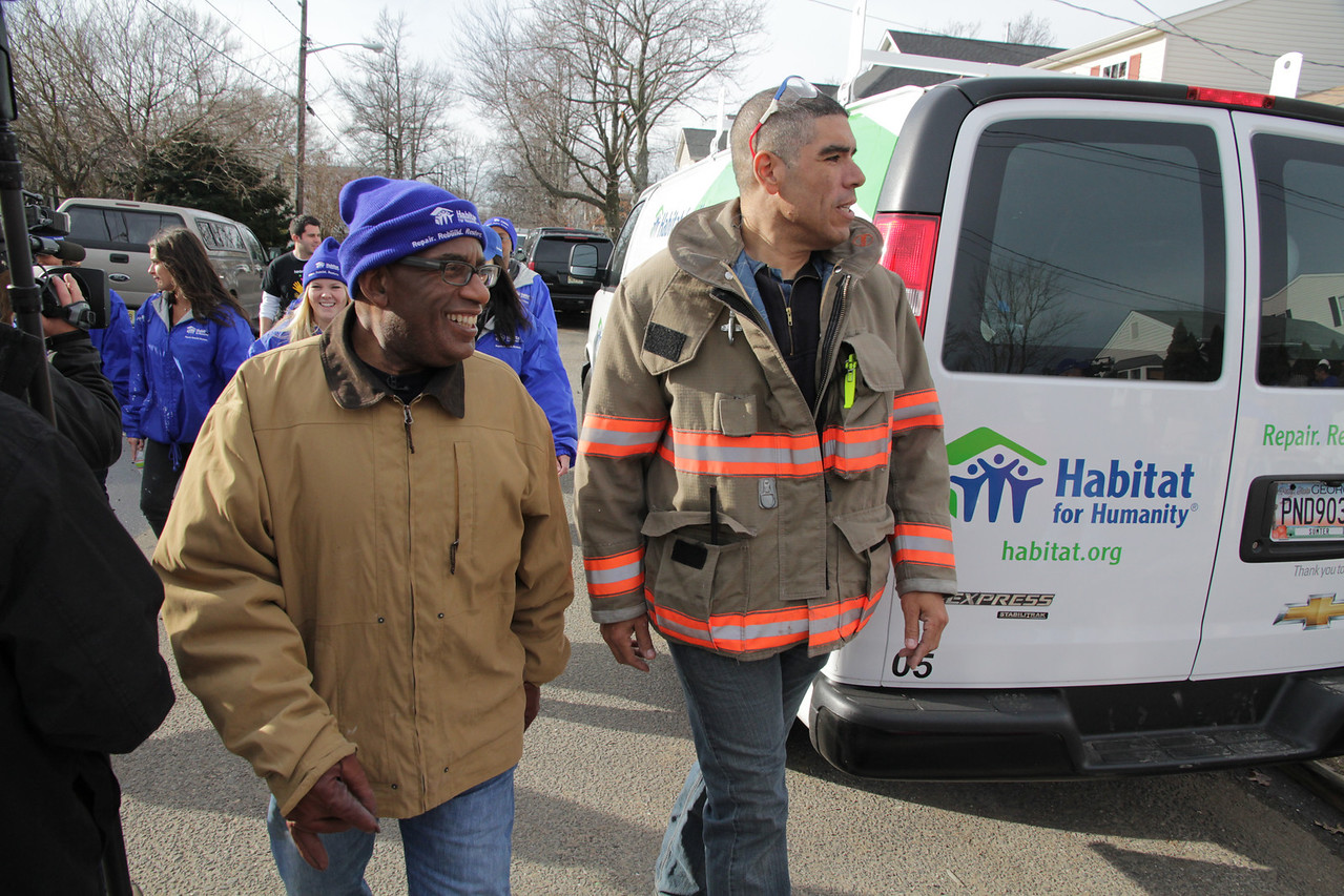 Al Roker, EMS Chief Carlos Rodriguez and volunteers from NBC's Today join Habitat for Humanity to help repair the Rodriguez family's Union Beach, N.J., home that was damaged during Hurricane Sandy. ©Photo by Habitat for Humanity International/Scott Umstattd