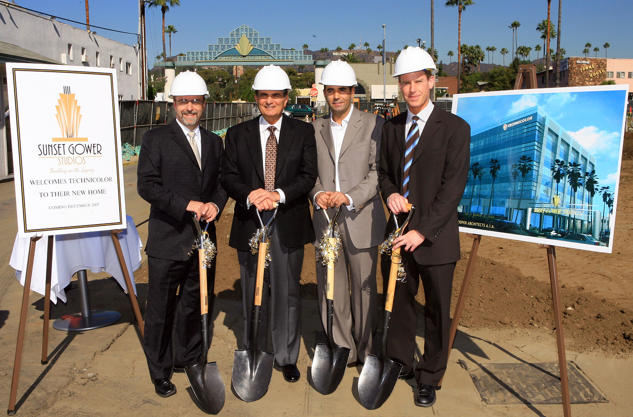 LOS ANGELES - NOVEMBER 16:  (L to R) Architect Jeff Cooper, CEO of Sunset and Gower Robert Papazian,Technicolor President Ahad Ouri, and Andrew Tainiter attend the Sunset Gower Studios groundbreaking of the new Technicolor Building, November 16, 2006 in Los Angeles, California.  (Photo by Katy Winn/Getty Images)
