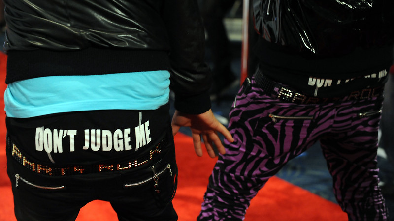 Members of LMFAO arrive to KIIS FM's Jingle Ball 2009 on Saturday Dec. 5, 2009, in Los Angeles. (AP Photo/Katy Winn)