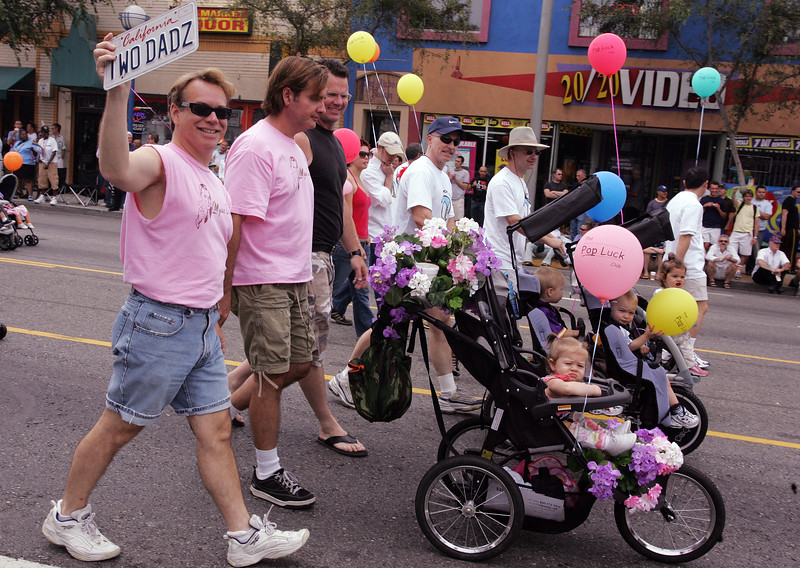 LOS ANGELES - JUNE 12, 2005:  Parade participants in the Annual Gay Pride Parade, June 12, 2005 in West Hollywood. (Photo by Katy Winn/Corbis)